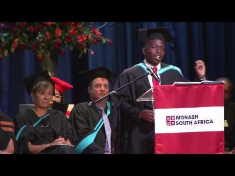 Business Science graduate Yamikani Katunga speaks at the MSA Graduation Ceremony