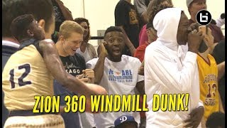Zion williamson effortlessly punches 360 windmill dunk after buzzer!