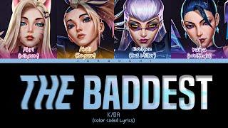 K/DA 'THE BADDEST ft. (G)I-DLE, Bea Miller, Wolftyla' Lyrics (Color Coded Lyrics)