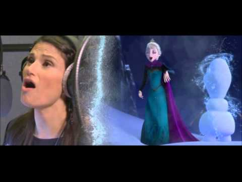 Idina Menzel recording Let it Go and Kristen Bell recording For the First Time in Forever