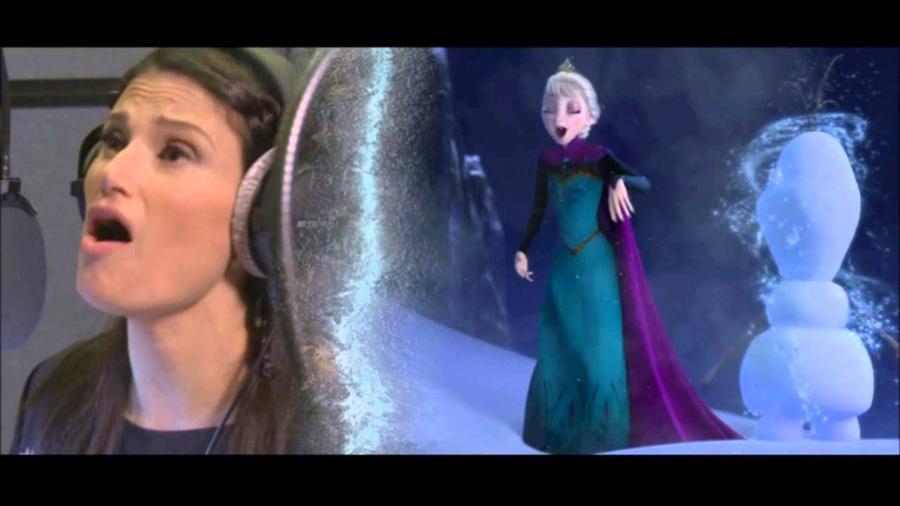 "Idina Menzel recording ""Let it Go"" and Kristen Bell ..."