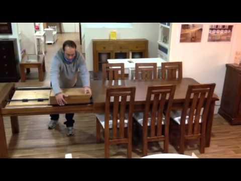 Oferta mesa de madera maciza extensible con dos aperturas for Ofertas de comedores en hites