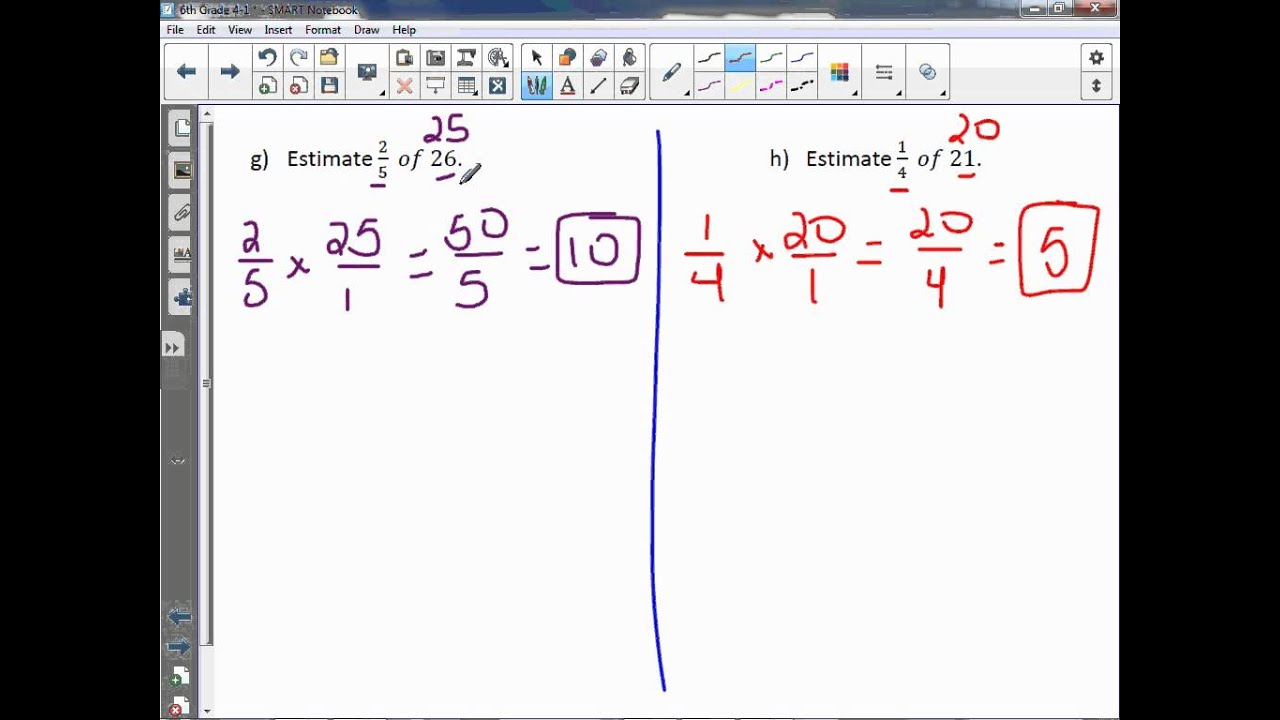 worksheet Estimating Products 6th grade 4 1 estimate products of fractions youtube fractions