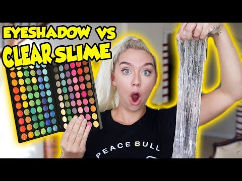 MIXING 100 SHADES OF EYESHADOW INTO CLEAR SLIME! SO INTERESTING AND SATISFYING!