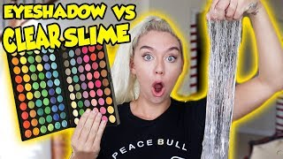 MIXING 100 SHADES OF EYESHADOW INTO CLEAR SLIME! SO INTERESTING AND SATISFYING! | NICOLE SKYES