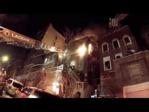 FDNY HD - CLOSEUP Bronx 2nd Alarm on Arrival Heavy Fire w/ Fireground 1/23/14