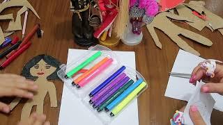 DIY Kağıttan Bebeğini Çiz Boya Kes Giydir (Paper Dolls) Kağıttan Kombin Challenge Bidünya Oyuncak🦄