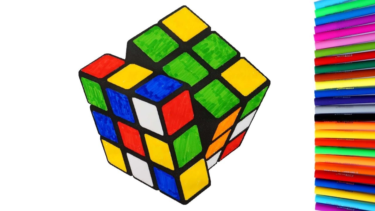 Coloring Rubik's Cube Coloring Pages Video For Kids To ...