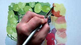 Grapes - full 90 minute watercolour painting