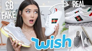 TRYING FAKE DESIGNER SHOES FROM WISH... REAL VS FAKE!