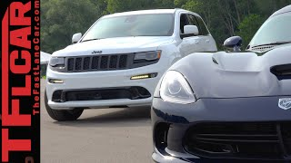 Dodge SRT Viper GT vs Jeep Grand Cherokee SRT Autocross Mashup Review