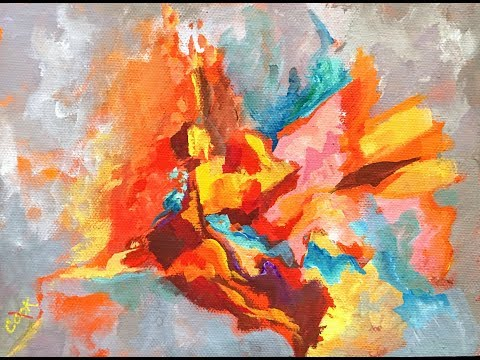 How to Balance Colors in an  Abstract in Acrylic Gouache on Canvas with Warm and Cool Colors