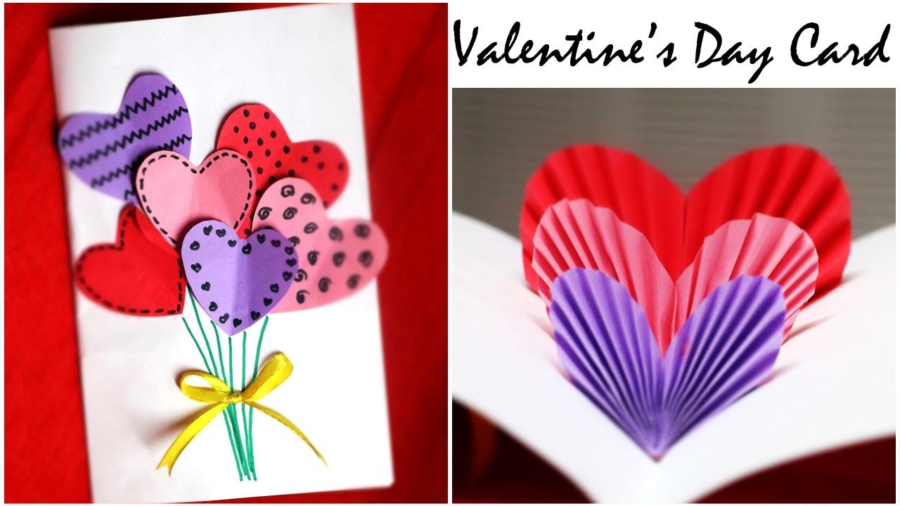 Diy Valentine Card Handmade Popup Card For Valentine S Day 3d Hearts Card Reupload