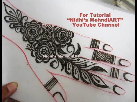 New Flower Mehndi : New flower and leaves henna mehndi design tutorial for back hand