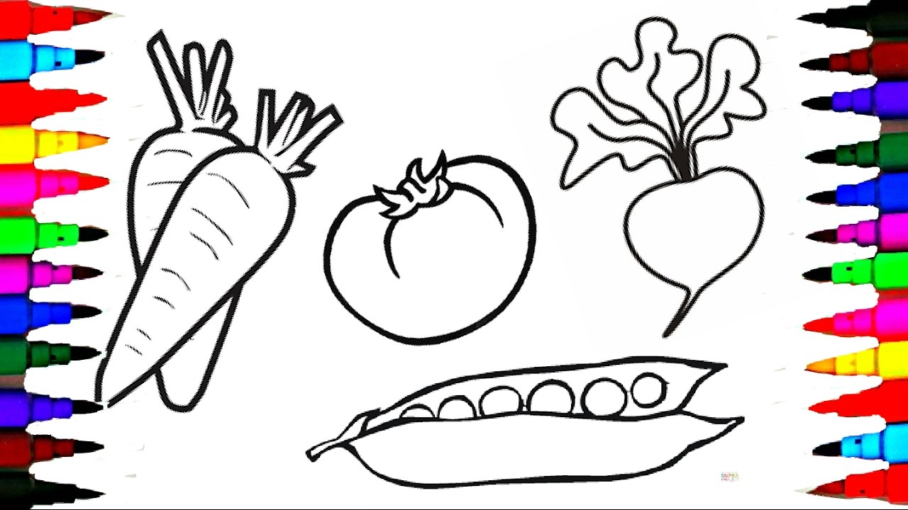 Draw and Coloring Pages Fruits and Vegetables for Kids to Learn l ...
