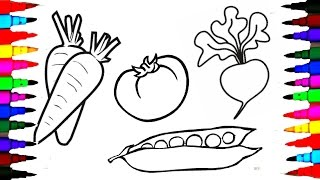 Draw and Coloring Pages Fruits and Vegetables for Kids to Learn l Colouring with Brilliant Marker