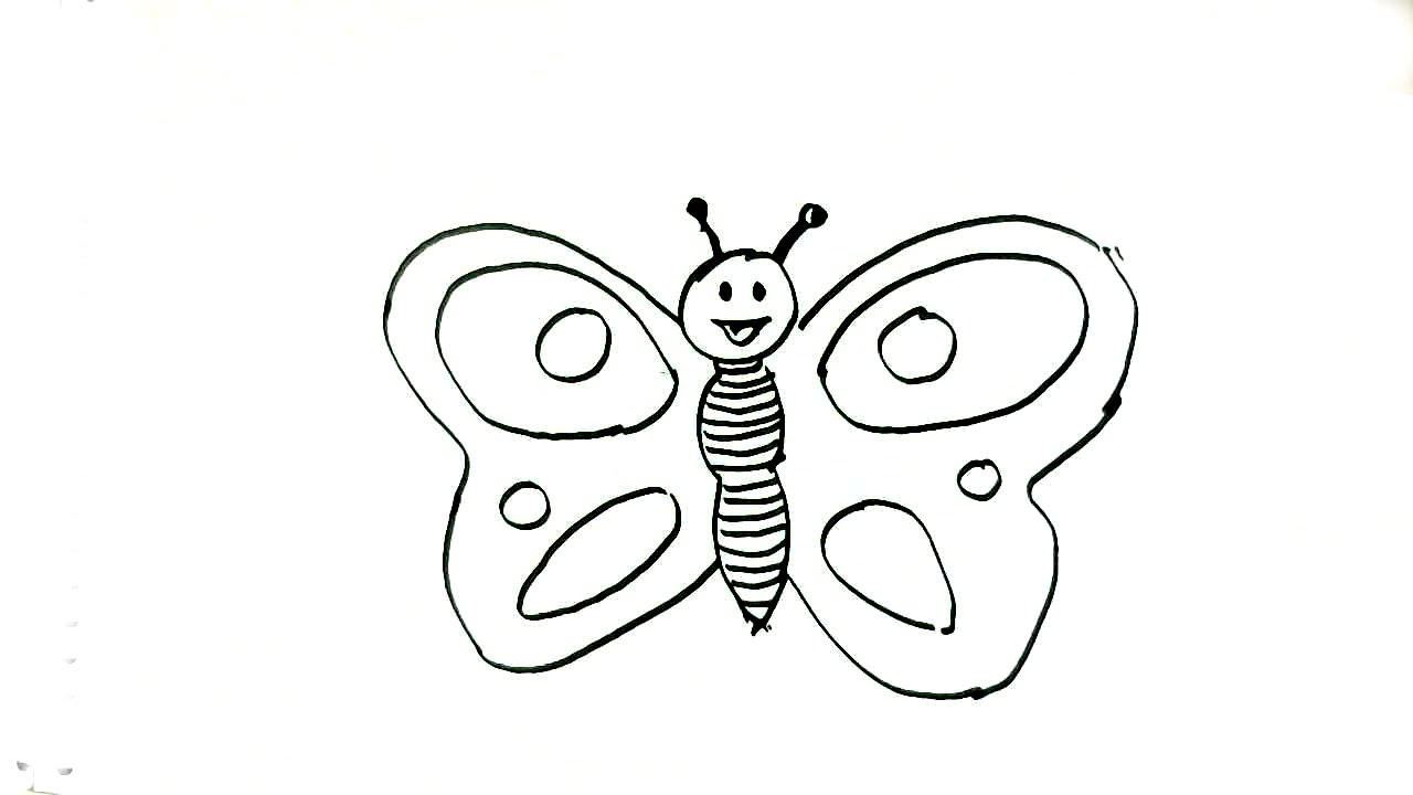 How To Draw A Butterfly In Easy Steps For Children Beginners Youtube