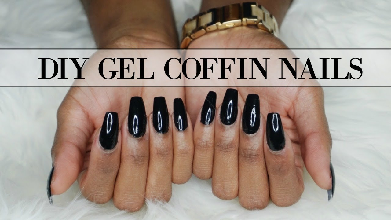 DIY FAKE GEL COFFIN NAILS AT HOME | EASY TUTORIAL 💅🏽 - YouTube