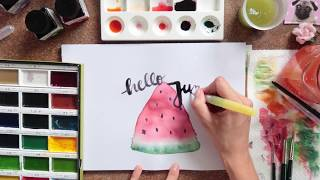Handlettering + Melone malen I Speed Drawing  #letteringmitooobacht