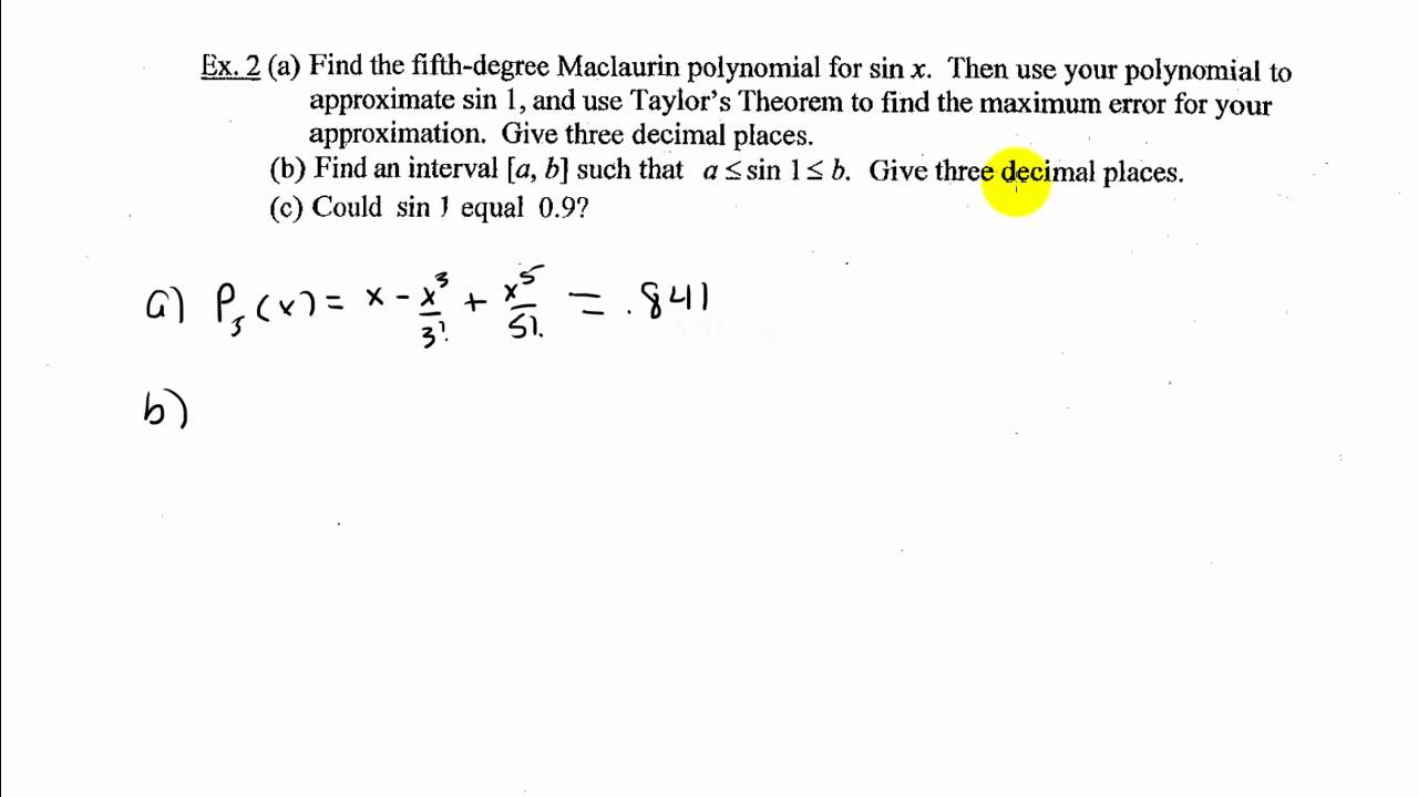 AP Calculus Section 93 Lagrange Error Bound or Taylors Theorem – Ap Calculus Worksheets