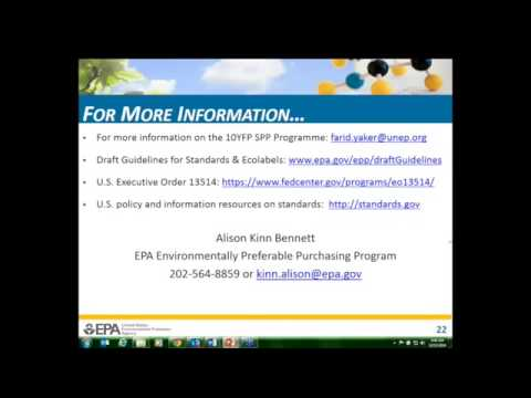 10YFP SPP Webinar: US EPA's Draft Guidelines for Environment