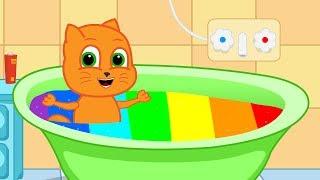 Familia De Gatos   Baño De Burbujas De Colores Dibujos Animados Para Niños