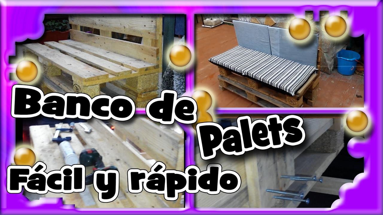 Banco de palets como hacerlo f cil y r pido youtube for Como hacer una piscina con palets