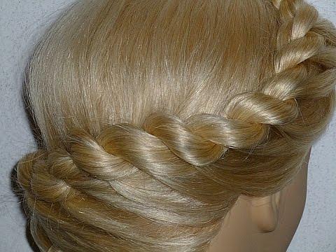 Плетение волос/ косичек. Причёска для средних, длинных волос.Плетение косички жгут вокруг головы