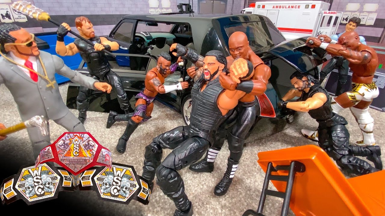 THE SHIELD VS THE HURT BUSINESS HARDCORE ACTION FIGURE MATCH! WINNERS TAKE ALL!