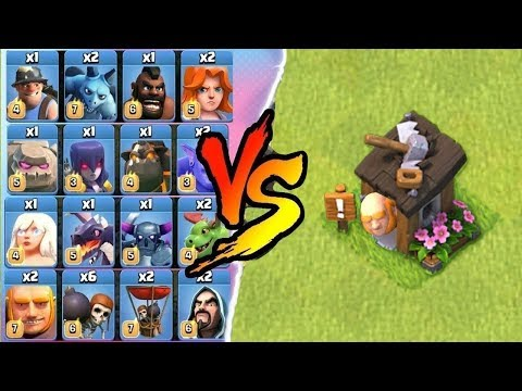 ALL TROOPS vs GIANT BUILDER HUT - CLASH OF CLANS | ALL UNITS vs BUILDER HUT ! | COC