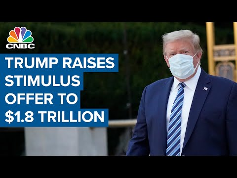 President Donald Trump raises stimulus offer to $1.8 trillion