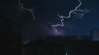 Repeat youtube video 🎧 Thunderstorm Ambience And Pouring Rain Sounds - Thunder & lightning Nature Sounds For Relaxation