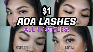 06f1558260 $1 AOA STUDIO FALSE EYELASHES | SHOPMISSA | FULL TRY ON AND REVIEW by  Jennifer Chang