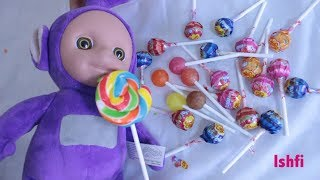 Chupa Chups Lollipop Unboxing for Learning colors with Teletubbies