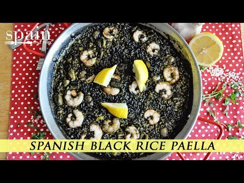 Spanish Black Rice Paella With Squid Ink Based Broth