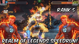 Human Torch Realm of Legends Speedrun! - Rank 5 God Mode Gameplay - Marvel Contest of Champions