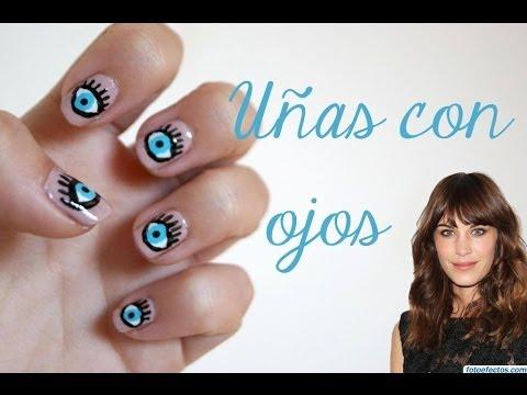 Uñas con ojos   Inspiradas en Alexa Chung - YouTube