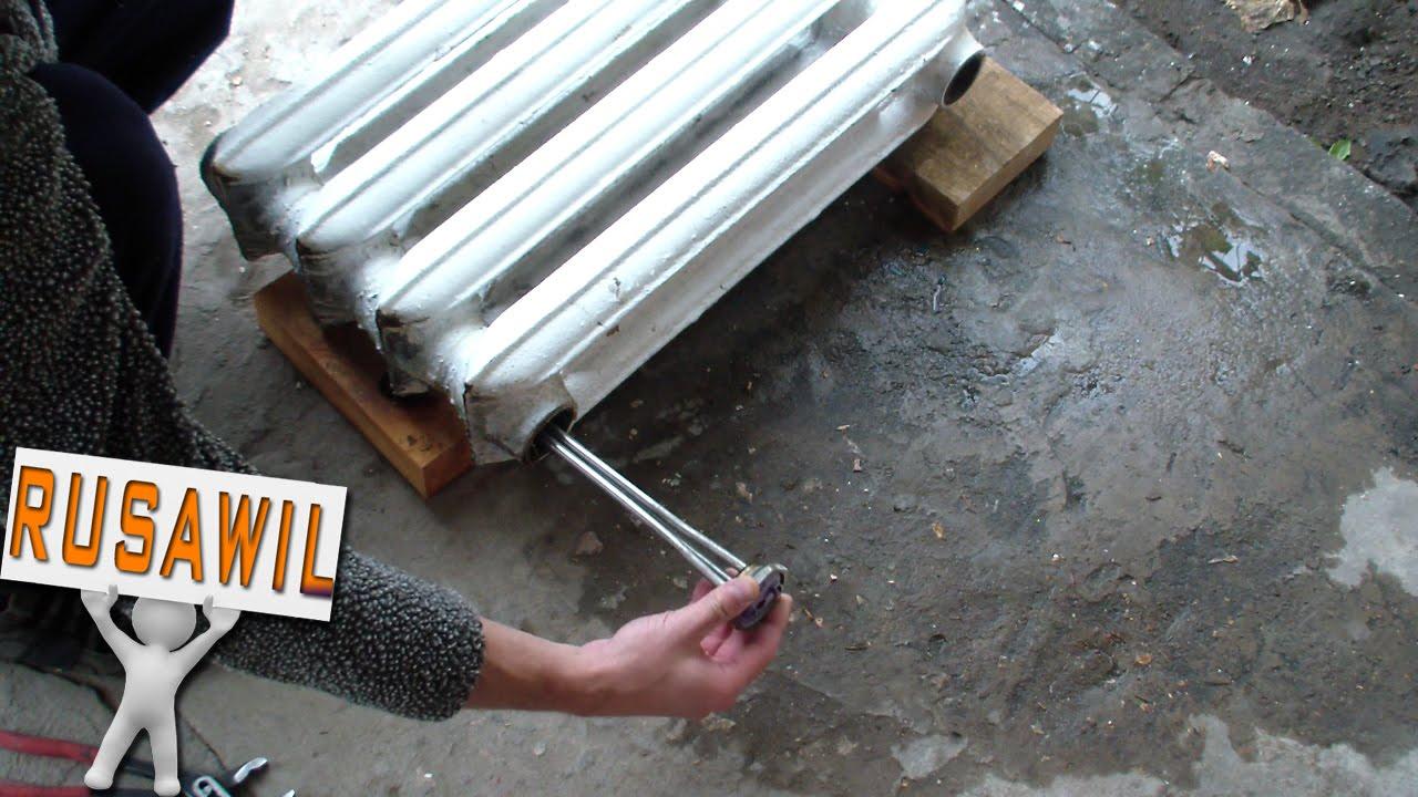Обогреватель в гараж из чугунной батареи на отработке! - YouTube