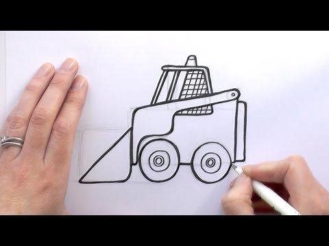 How to Draw a Cartoon Bobcat Digger