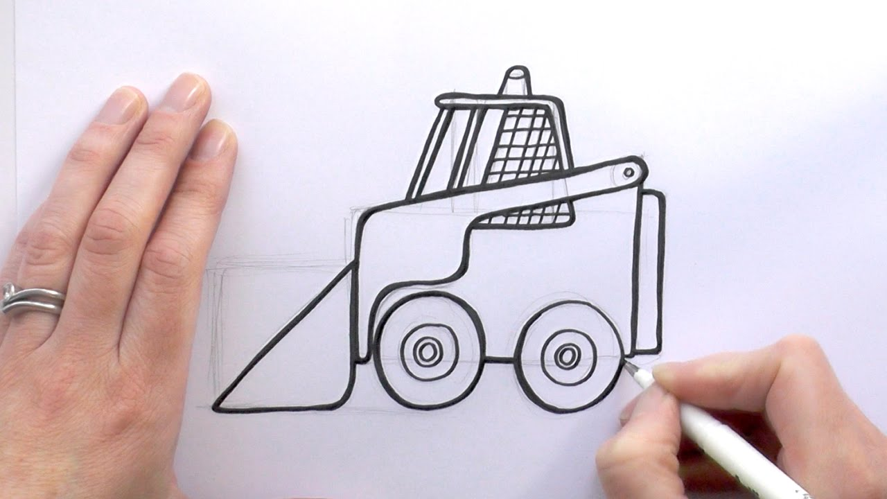 How To Draw A Cartoon Bobcat Digger Youtube