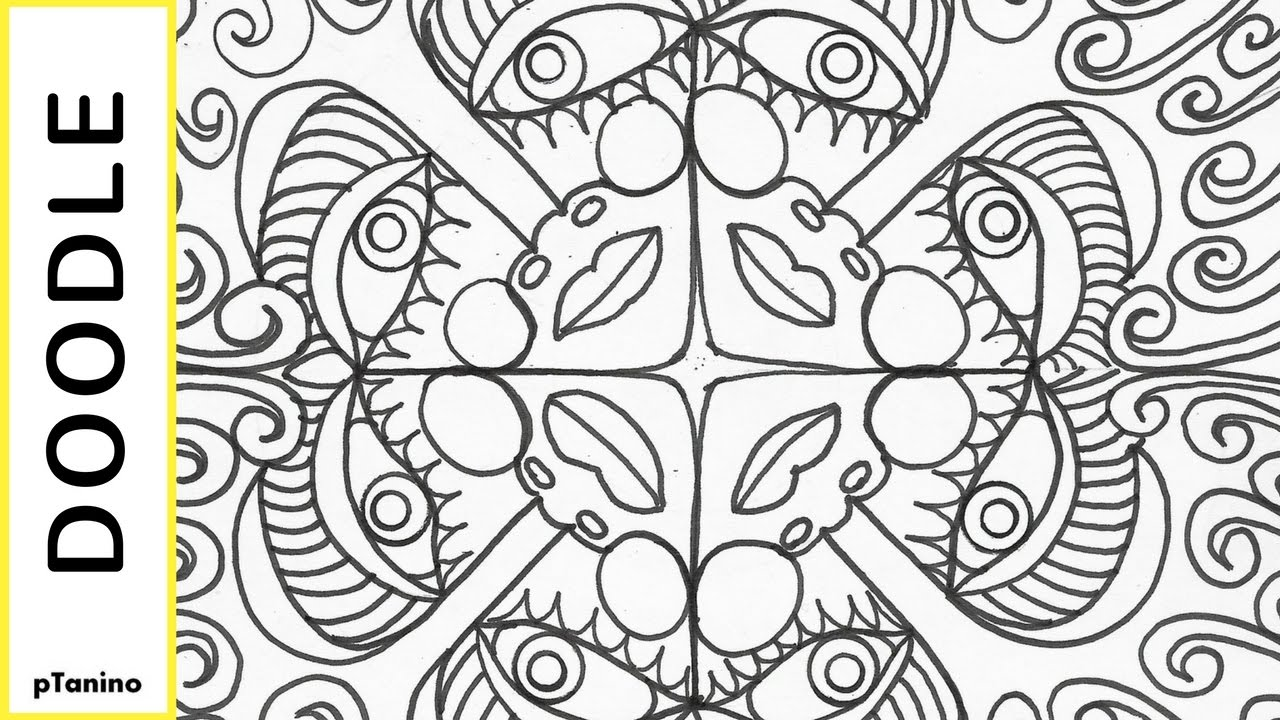 Easy Mandala Doodle Faces How to Draw a Coloring Page ...
