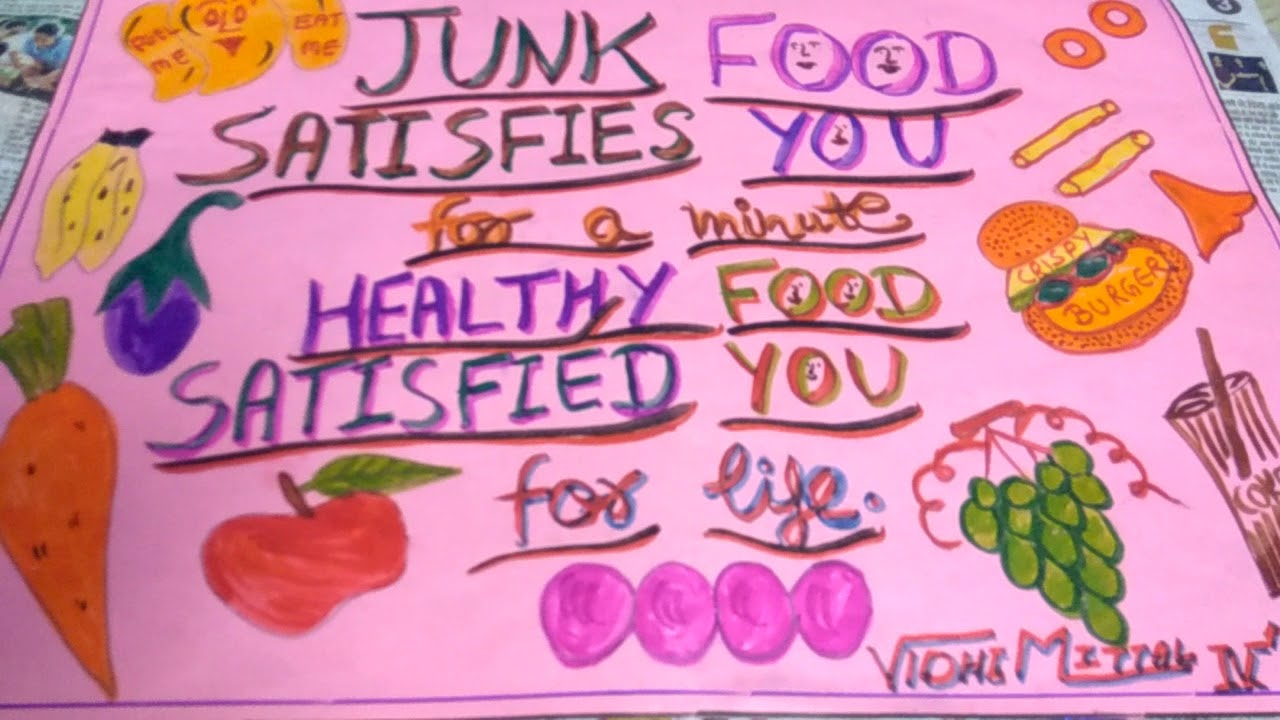 Healthy food vs  junk food poster