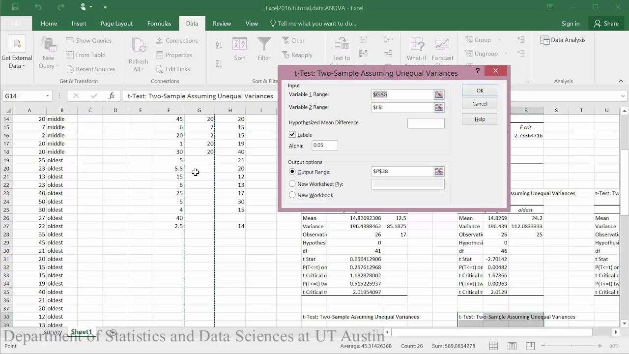 Statistical Inference - ANOVA Post Hoc Testing in Excel 2016
