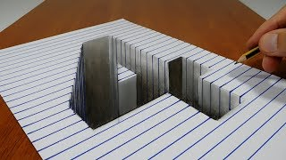 3D Trick Art - Draw a number 4 Hole on Line Paper