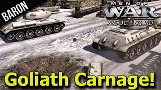 Men of War Assault Squad 2 - Goliath & Tiger Tank Rampage!!! Infantry Rush!??