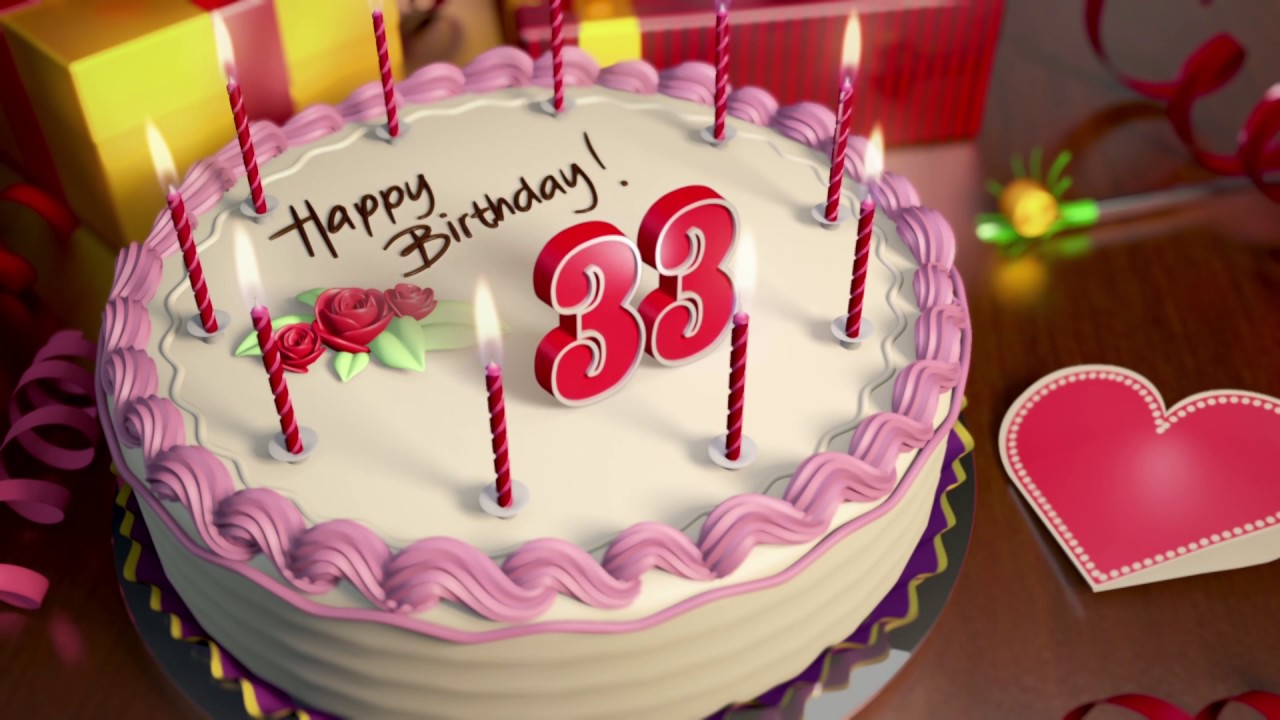 Happy 33rd Birthday Cake Animation