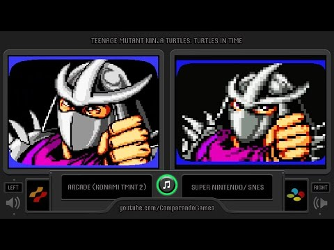 Teenage Mutant Ninja Turtles: Turtles in Time (Arcade vs Snes) Side by Side Comparison