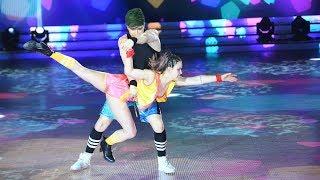 Con un pogo en la tribuna junto a Marcelo, Sofi Morandi y Julián Serrano bailaron Cuarteto