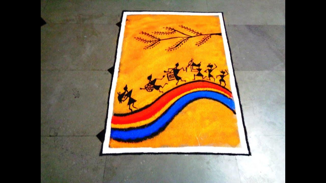 Poster design rangoli - Warli Poster Rangoli