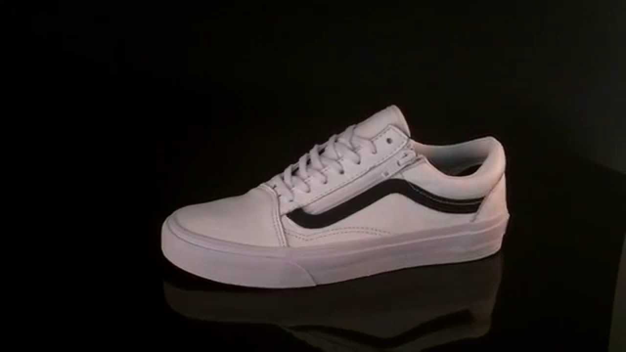 Vans U Old Skool Zip Sneaker Premium Leather True White V18GEWB - YouTube 5fc3aacd7fe8